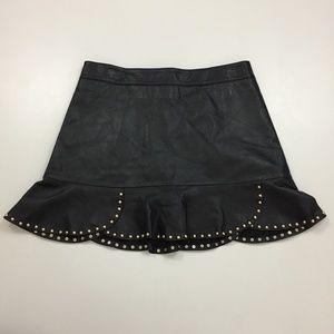ZARA WOMAN Studded Scallop Hem Faux Leather Skirt